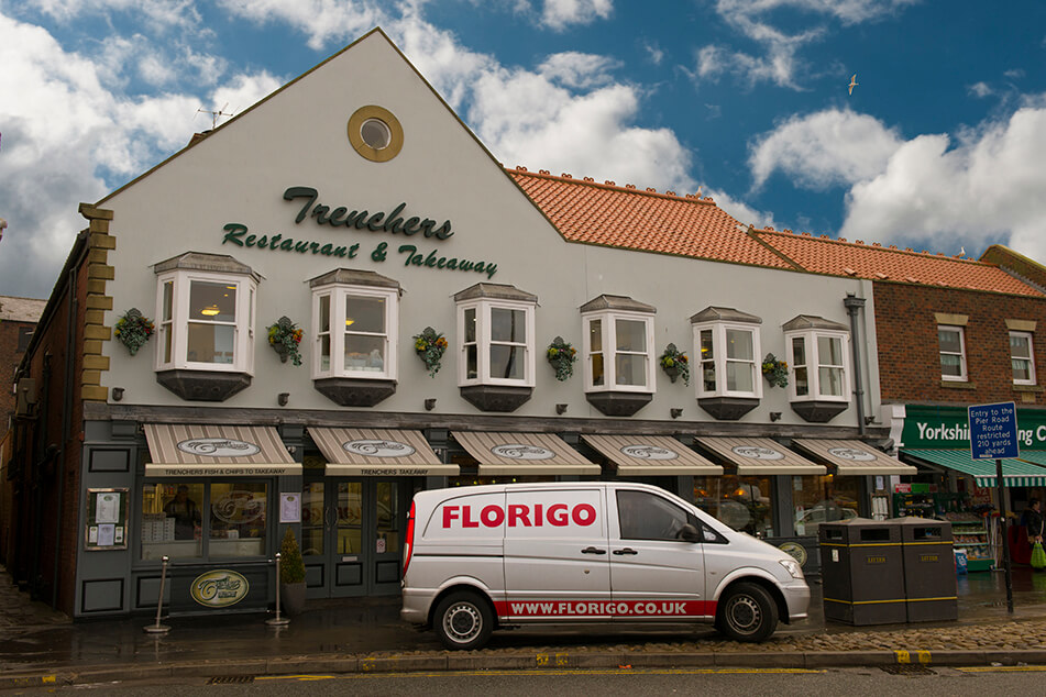 Florigo Service Van In Front Of Trenchers Restaurant
