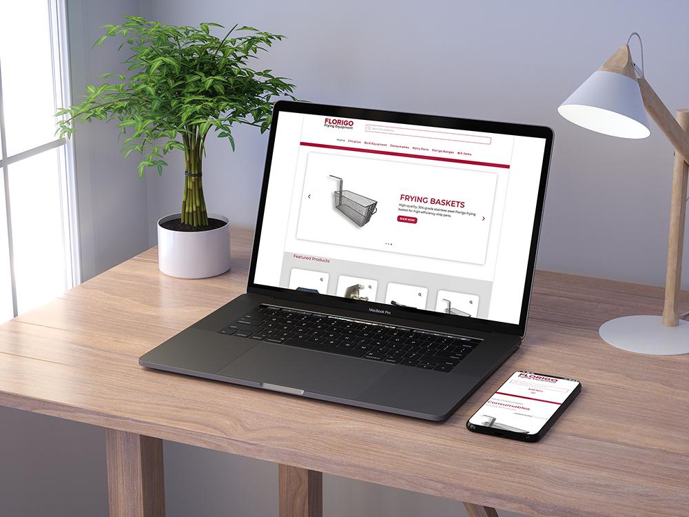 macbook pro on table displaying florigo shop website